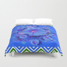 Baby Blue Morning Glories Green Floral Art Duvet Cover