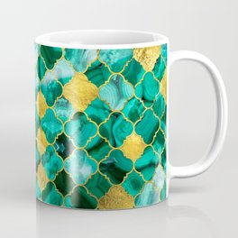 Quatrefoil Moroccan Pattern Green Malachite and gold Coffee Mug