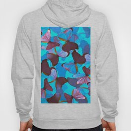 Shiny Blue And Pink Butterflies On A Turquoise Background #decor #society6 #pivivikstrm Hoody