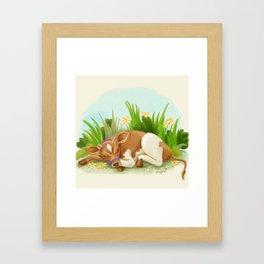 Sleepy Cow Framed Art Print