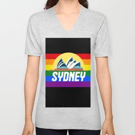 Sydney Mardi Gras gay Australia gay pride rainbow flag Unisex V-Neck