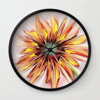 sunflower Wall Clocks featuring Sunflower by Klara Acel
