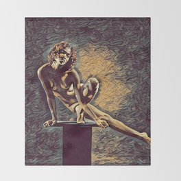 0953s-ZAC Dancer on Pedestal Graceful Young Black Woman Rendered in the Style of Antonio Bravo Throw Blanket