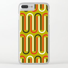 Geometric Pattern #110 (mustard red) Clear iPhone Case