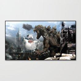 Godzilla versus The Staypuft Marshmallow Man Canvas Print