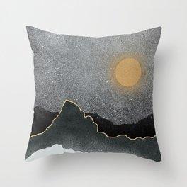 Black Mountains Gold Moon Throw Pillow