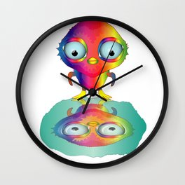 Rainbow Penguin looks herself in the water Wall Clock