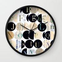 alphabet Wall Clocks featuring Alphabet by maria carluccio