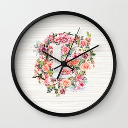 Initial Letter L Watercolor Flower Wall Clock