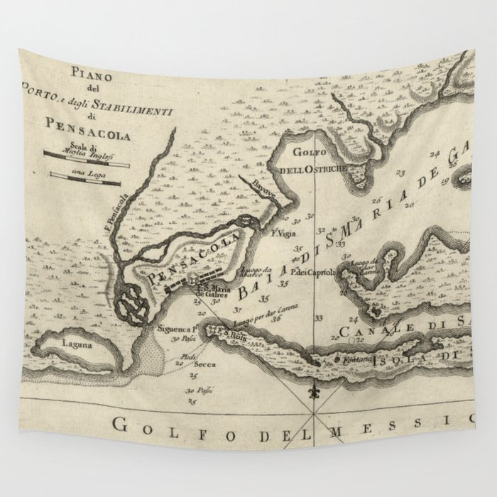 Map Pensacola Florida.Vintage Map Of Pensacola Florida 1763 Wall Tapestry By