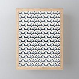 Hand drawn block print - blues on textured linen Framed Mini Art Print