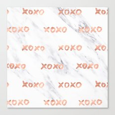 Valentines Day Rose Gold Marble Words - XOXO Typography Canvas Print