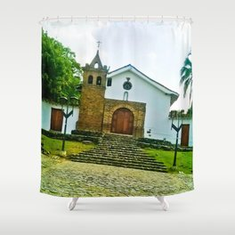 With the power of God. Shower Curtain