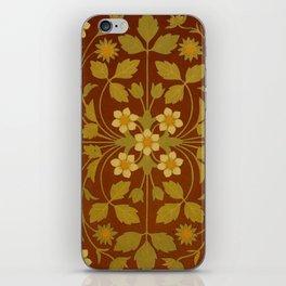 Vintage Leaf and Flower Brown Design Pattern iPhone Skin