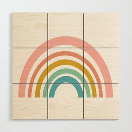 Simple Happy Rainbow Art Wood Wall Art