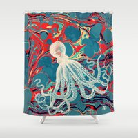 octopus Shower Curtains featuring Octopus by Pepe Psyche