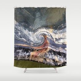 The Wave Etched in Stone Shower Curtain