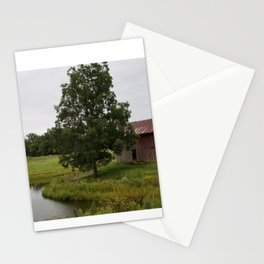 Barn and pond Stationery Cards