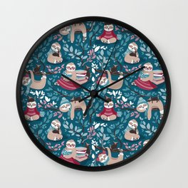 Hygge sloth // turquoise and red Wall Clock