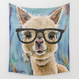 Cute Alpaca With Glasses Wall Tapestry