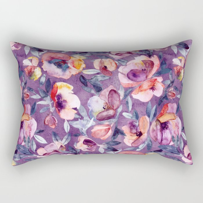 May Afternoon - a watercolor floral in purple and peach Rectangular Pillow