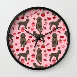 Poodle brown coat color valentines day pet portraits dog lover gifts dog breed portraits Wall Clock