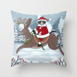 Santa Claws and the Jackalope Throw Pillow