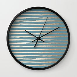 Abstract Stripes Gold Tropical Ocean Blue Wall Clock