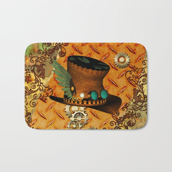 Steampunk, hat with clocks and gears Bath Mat
