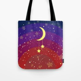 The new crescent on a rainbow sky Tote Bag