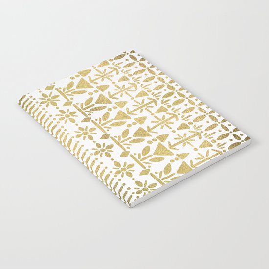 Norwegian Pattern – Gold on White Notebook