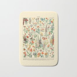 Wildflower Diagram // Fleurs II by Adolphe Millot 19th Century Science Textbook Artwork Bath Mat