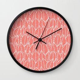 Botanics in Coral Wall Clock
