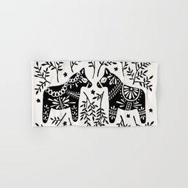 Swedish Dala Horses – Black Palette Hand & Bath Towel