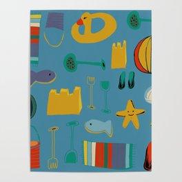 beach gear blue Poster