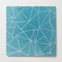 Ab Dotted Lines Pink on Blue Metal Print