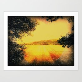 Snow Blown Blagdon Lakes. Art Print