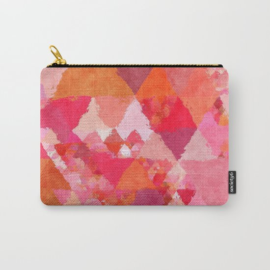 Into the heat - Pink and red watercolor Triangle pattern Carry-All Pouch