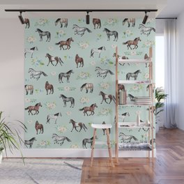 Floral Horse Pattern, Flowers and Horses, Hand Painted, Girl's Room, Romantic Blue Floral Wall Mural