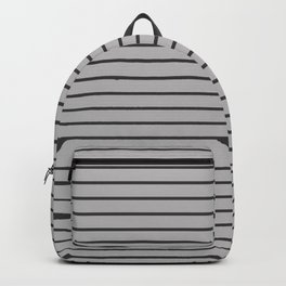 Dark Grey on Silver Pinstripes | Thin Horizontal Pinstripes | Backpack
