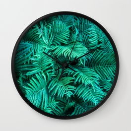 Fern Photography | Emerald | Turquoise |Tropical Leaves | Art Print Wall Clock