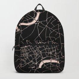 London Black on Rosegold Street Map Backpack