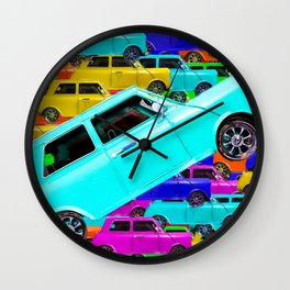 vintage classic car toy pattern background in yellow blue pink green orange Wall Clock