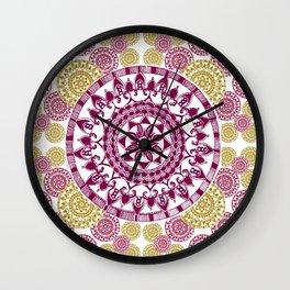 Gold and Maroon Circular Mandala Patterned Textile Wall Clock