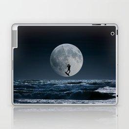 Kitesurfer in the moon in blue night sky horizon Laptop & iPad Skin