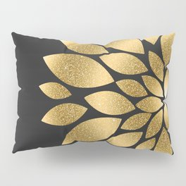 Pretty gold faux glitter abstract flower illustration Pillow Sham