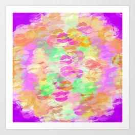 juicy kiss lipstick abstract pattern in pink orange green purple Art Print