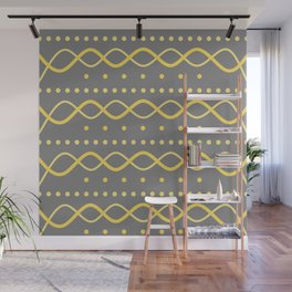 Waves and dots - gold and grey Wall Mural