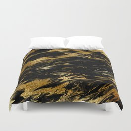Luxury and sparkle gold glitter and black marble Duvet Cover