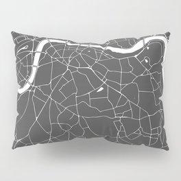 Gray on White London Street Map Pillow Sham